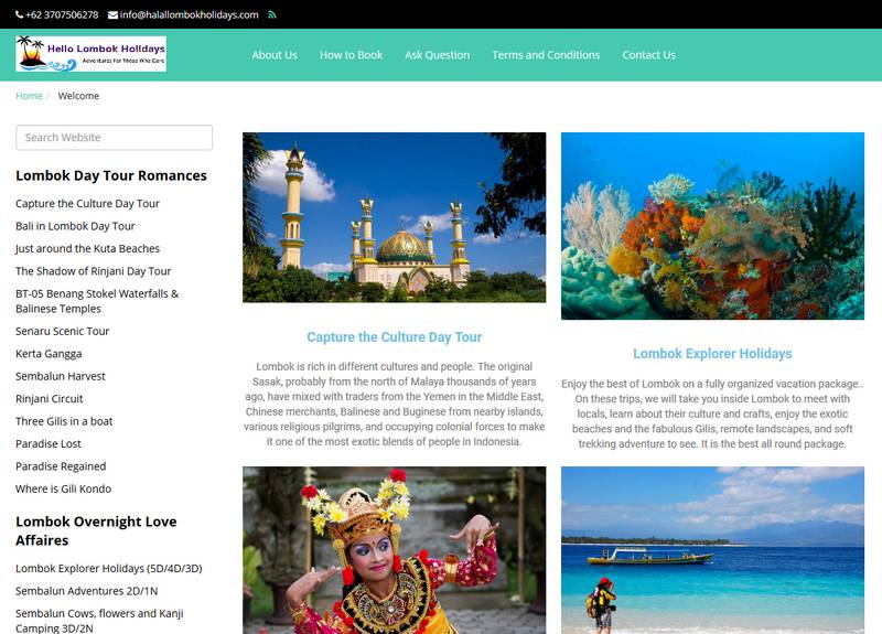 Desain Website Travel Hello Lombok Holidays