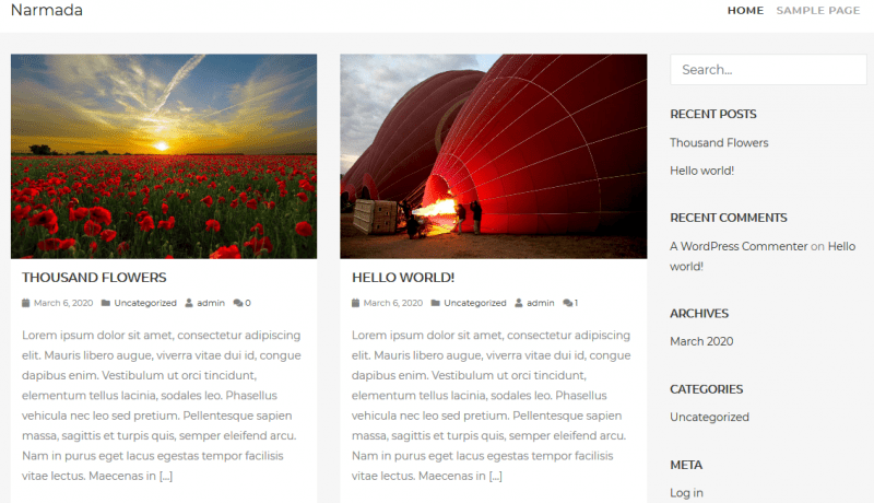 narmada free wordpress theme by lombokmedia