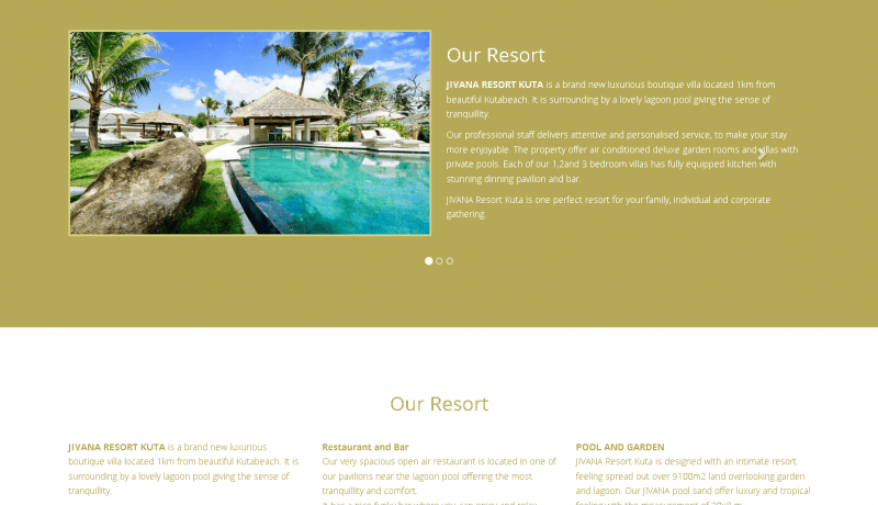 Jasa Desain Web Jivana Resort Kuta Lombok