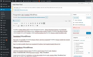 Seri Belajar WordPress - Pengenalan dan Instalasi WordPress - Editor UI