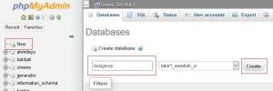 Seri Belajar WordPress - Pengenalan dan Instalasi WordPress - PHPmyAdmin UI
