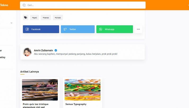 Jasa konversi tema blogger Median UI ke Tema WordPress - Modul Share dan related post