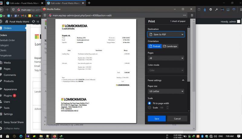 Plugin WordPress Invoice - Print Invoice