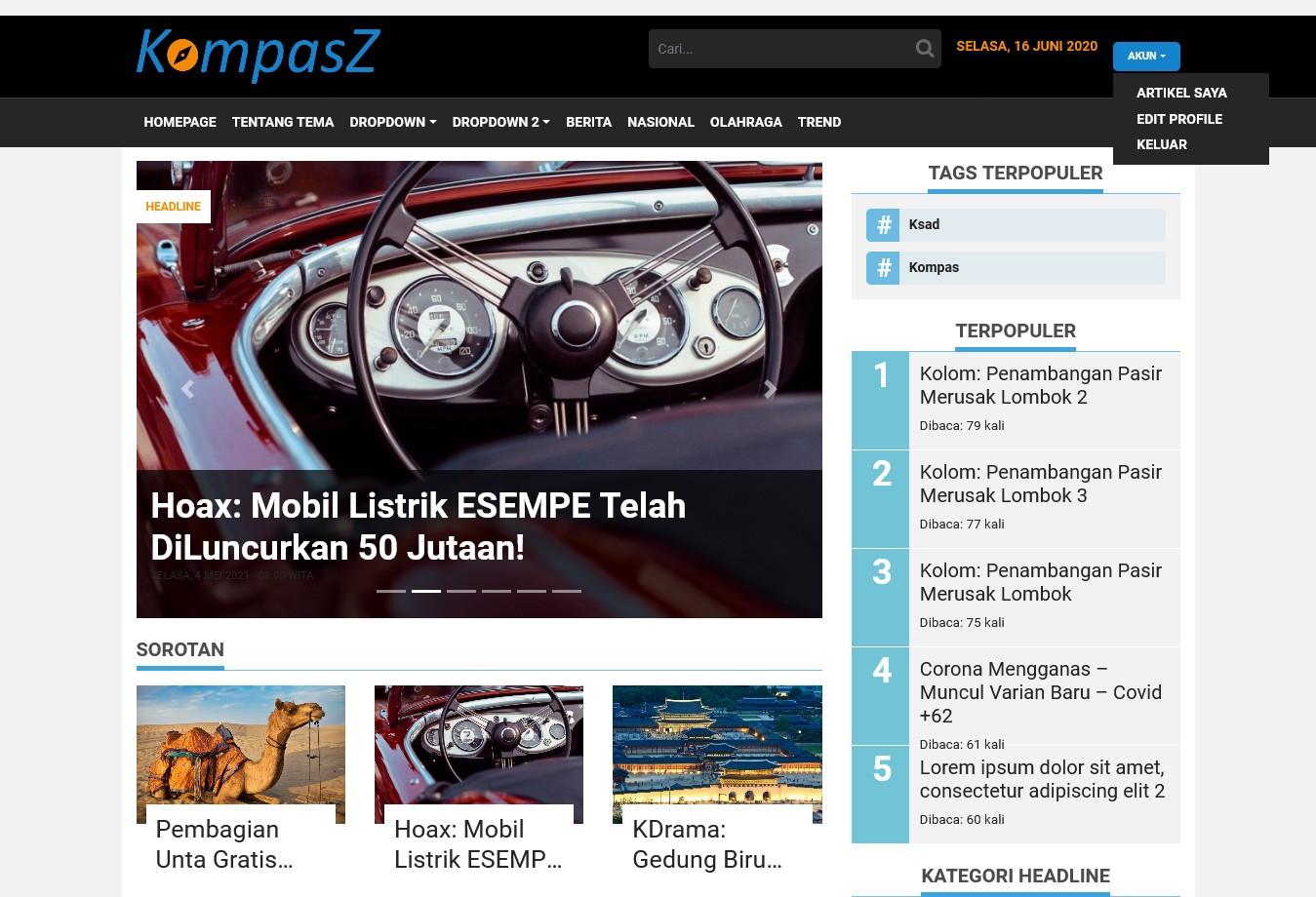 KompasZ – Tema WordPress Untuk Website Berita