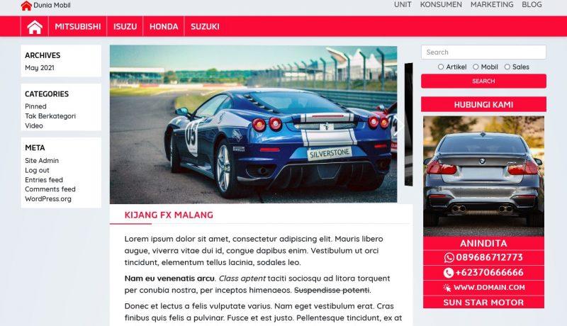 jasa pembuatan toko online - dealer mobil detail produk